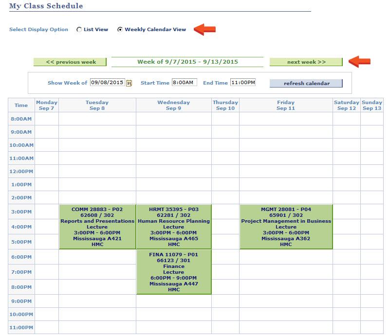 making college schedule